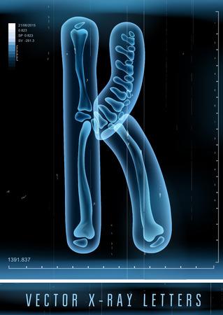 Vector 3D X-ray transparent alphabet Letter K