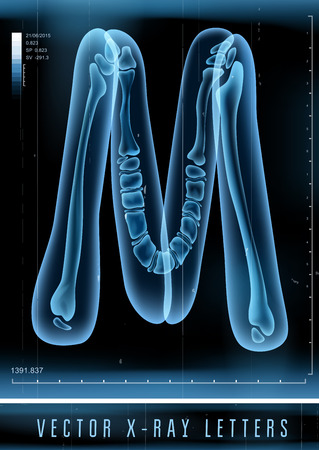Vector 3D X-ray transparent alphabet Letter M 일러스트