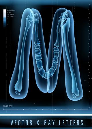 Vector 3D X-ray transparent alphabet Letter M Illustration