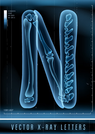 Vector 3D X-ray transparent alphabet Letter N