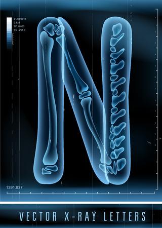 Vecteur 3D X-ray alphabet transparent Lettre N Banque d'images - 41775327