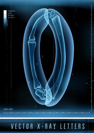letras negras: Vector 3D X-ray alfabeto transparente Letra O