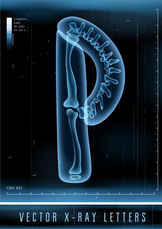 Vector 3D X-ray transparent alphabet Letter P