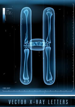 Vector 3D X-ray transparent alphabet Letter H