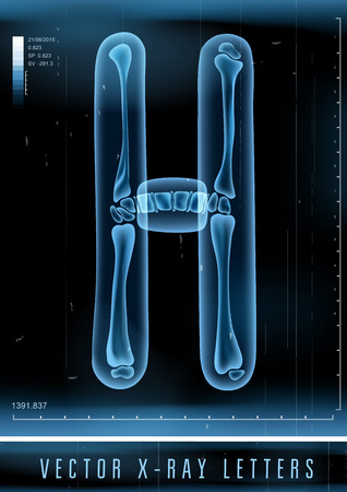 Vector 3D X-ray transparant alfabet Letter H