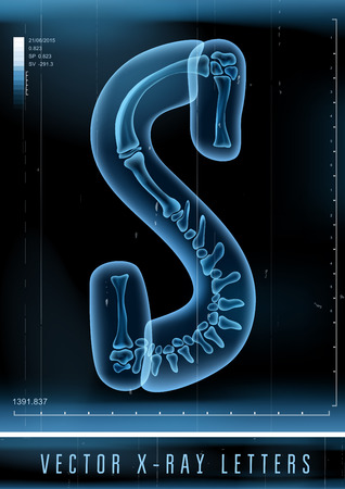 Vector 3D X-ray transparent alphabet Letter S Çizim