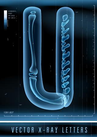 Vector 3D X-ray transparent alphabet Letter U