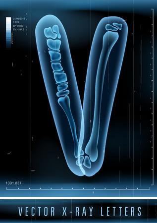 Vector 3D X-ray transparent alphabet Letter V Illustration