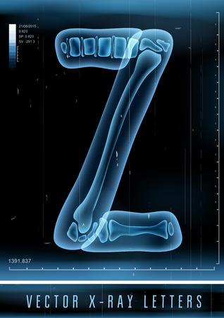 roentgen: Vector 3D X-ray transparent alphabet Letter Z