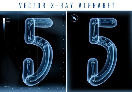 lettres alphabet: 3D X-ray l'utilisation de l'alphabet transparent dans le texte. Illustration