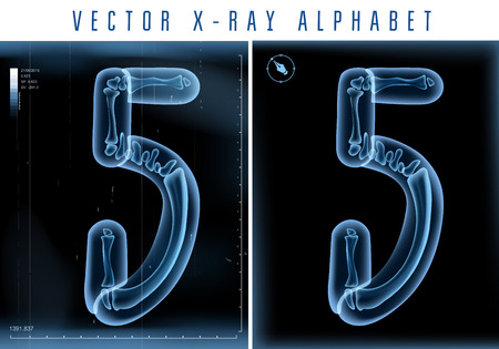 alphabet letters: 3D X-ray transparent alphabet use in text.  Illustration