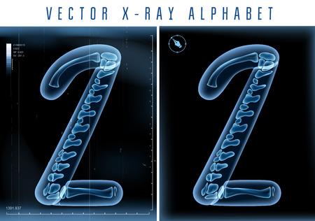 x ray image: 3D X-ray transparent alphabet Illustration