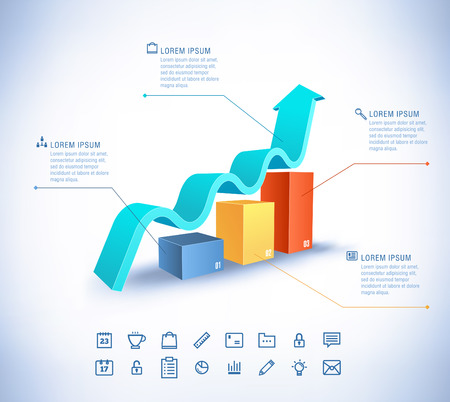 Vector template in modern style. For infographic and presentation. 3 arrow 向量圖像