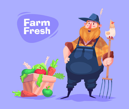 Funny  illustration of farmer cartoon character. Vector