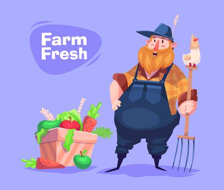 Funny  illustration of farmer cartoon character. Vector
