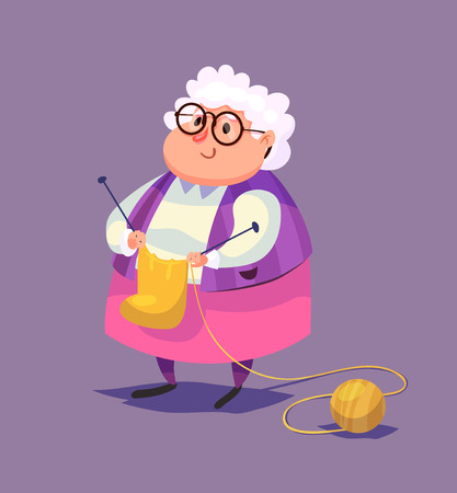 vejez feliz: Ilustración divertida del personaje de dibujos animados anciana. Ilustración vectorial aislado.
