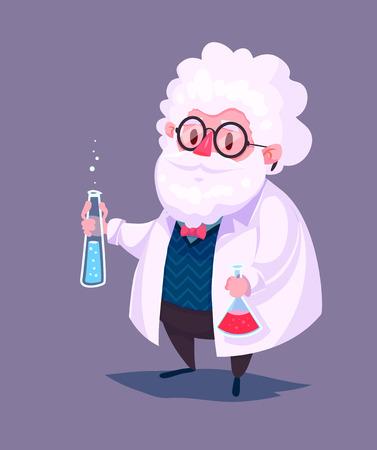 科学者の漫画のキャラクターの面白いイラスト。ベクトル図を分離しました。