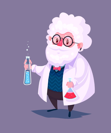 Funny  illustration of scientist cartoon character. Isolated vector illustration.