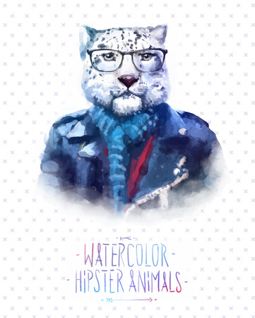 Cute fashion Hipster Animals and  pets leopard, set of vector icons bear portrait. Vector illustration Çizim