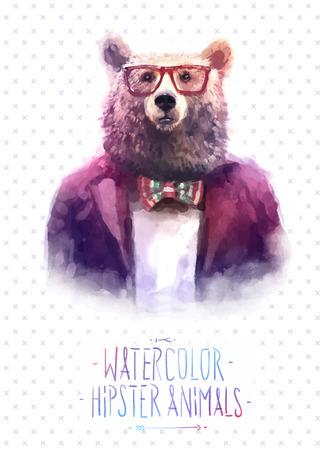 animal print: De manera lindo Hipster Animales y mascotas lobo, conjunto de iconos del vector del oso retrato. Ilustración vectorial Vectores