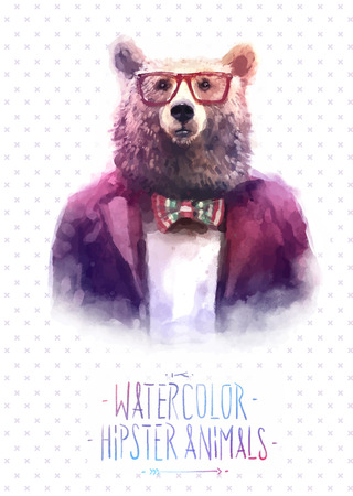 Cute fashion Hipster Animals and  pets wolf, set of vector icons bear portrait. Vector illustration