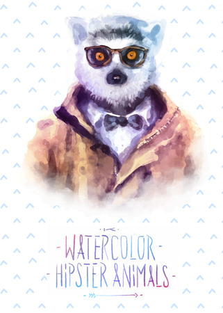 Cute fashion Hipster Animals and  pets lemur, set of vector icons bear portrait. Vector illustration Çizim