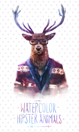 boy with glasses: Cute fashion Hipster Animals and  pets deer, set of vector icons bear portrait. Vector illustration