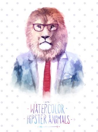 Leuke mode Hipster Dieren en huisdieren leeuw, set van vector iconen dragen portret. Vector illustratie Stock Illustratie