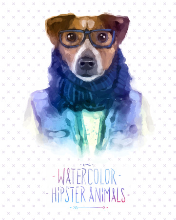 jack russell: Cute fashion Hipster Animals and  pets Jack Russell Terrier, set of vector icons bear portrait. Vector illustration