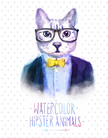 Cute fashion Hipster Animals and  pets cat, set of vector icons bear portrait. Vector illustration