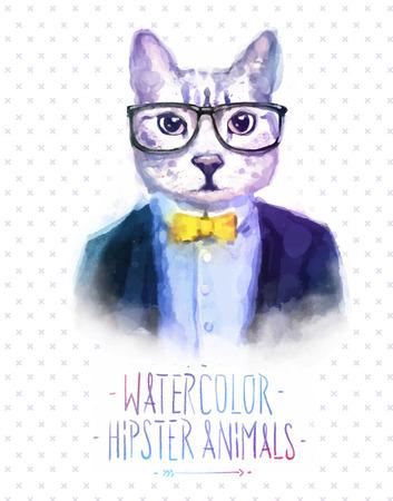 Leuke mode Hipster Dieren en huisdieren kat, set van vector iconen dragen portret. Vector illustratie