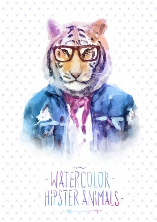 moda: Carino moda Hipster animali e gli animali domestici tigre, set di icone vettoriali bear portrait. Illustrazione vettoriale Vettoriali