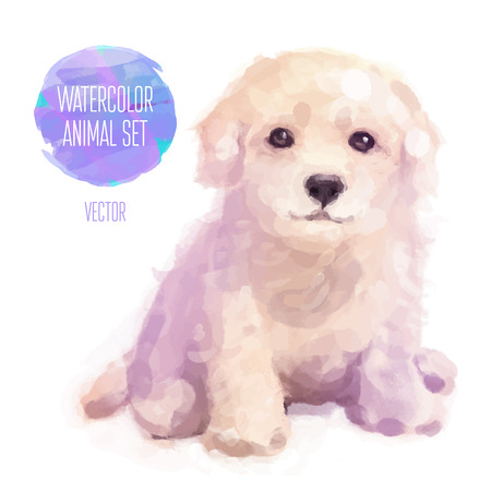 cute animals: Vector set of animals. Dog hand painted watercolor illustration isolated on white background Illustration