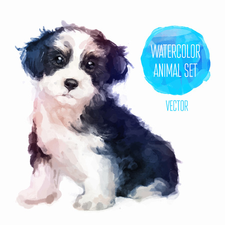child and dog: Vector set of animals. Dog hand painted watercolor illustration isolated on white background Illustration