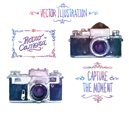 camera: Vector watercolour camera drawing on white background