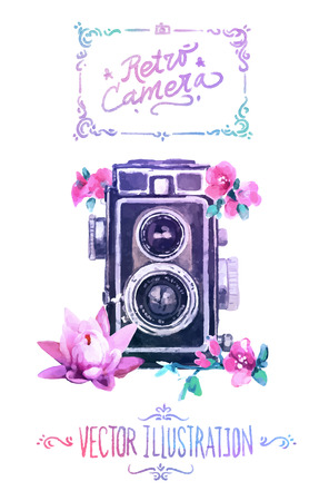 Vector watercolour camera with flowers drawing on white background