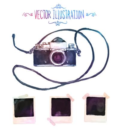 macchina fotografica: Vector acquerello macchina fotografica con le foto disegno su sfondo bianco