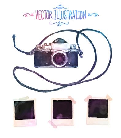 camera: Vector watercolour camera with photos drawing on white background Illustration