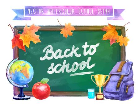 school illustration: Back to school. Vector watercolor colorful illustration with school supplies