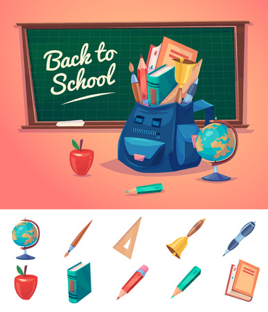 niños con lÁpices: De vuelta a la escuela. Bolso de escuela con objetos educativos.