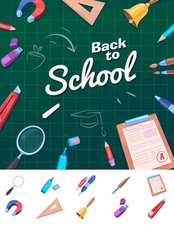 lens brush: Welcome Back to school template with schools supplies