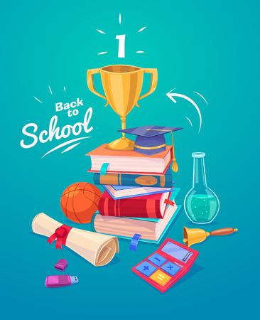 学校に戻る学用品や本のスタックのセットです。