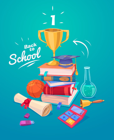 Back to school. Set of school supplies and stack of books. Reklamní fotografie - 43646874