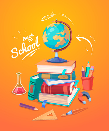 Back to school. Set of school supplies, globes and stack of books.