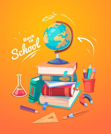scuola: Di nuovo a scuola. Set di materiale scolastico, globi e pila di libri.