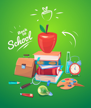 blue bulb: Back to school. Set of school supplies, apple and stack of books