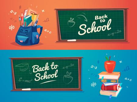 libro caricatura: De vuelta a la escuela. Bolso de escuela con objetos educativos.