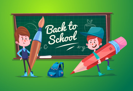 blackboard cartoon: Cute School Children. School activities. Back to School isolated objects on white background. Great illustration for a school books and more.