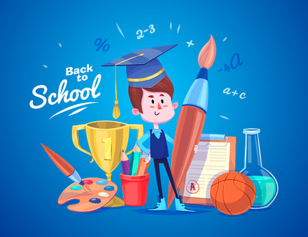 student boy: Cute School Children. School activities. Back to School isolated objects on blue background. Great illustration for a school books and more.