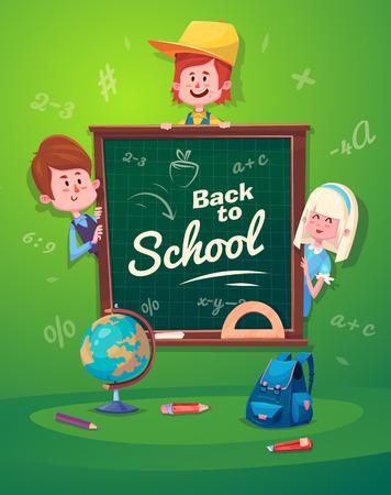Nette Schulkind. Schulaktivitäten. Zurück in die Schule, isoliert Objekte auf grünem Hintergrund. Große Illustration für eine Schule Bücher und mehr. Standard-Bild - 43648729